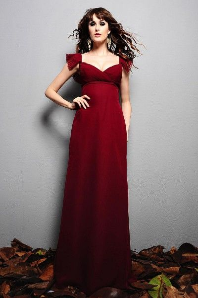 Ideal A Line Floor Length Sweetheart Sleeveless None Chiffon Maternity Wedding Guest Dresses
