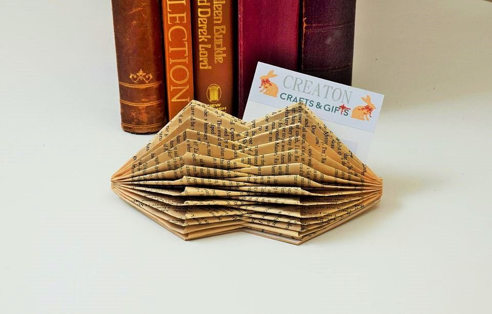 Book Art folded business card holder unusual unique handmade from a ...