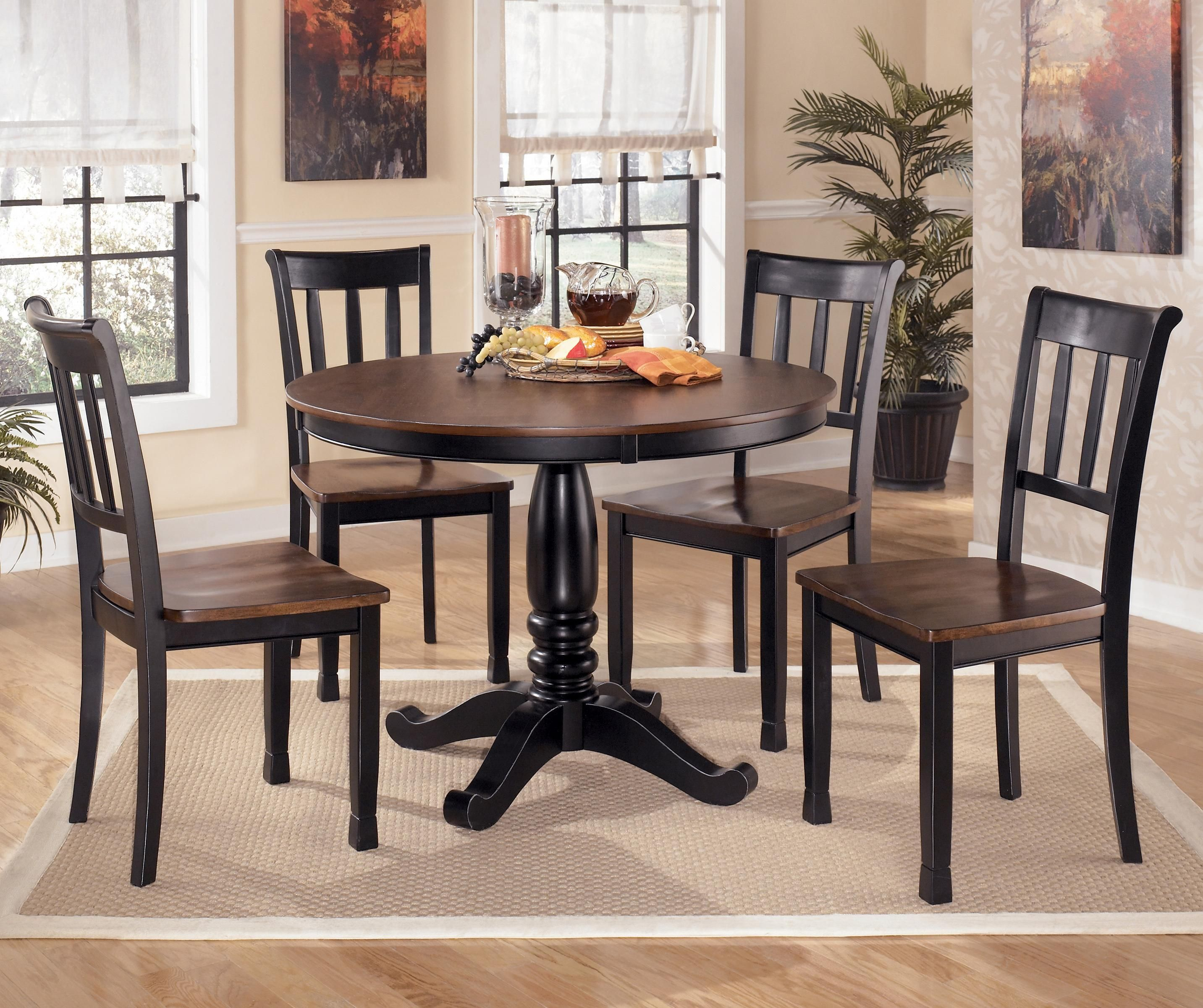 Signature Design By Ashley Owingsville 5 Piece Two Tone Round Dining Table Set