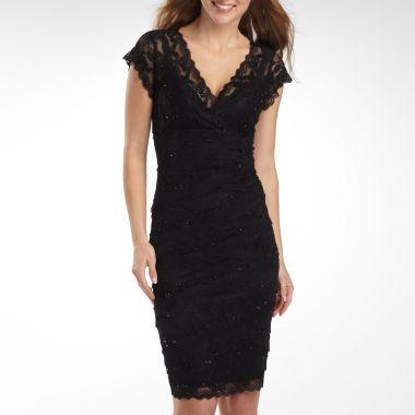 89 1st Choice Fits Small Jcp Black Lace Shutter Pleat Dress Lbd A3