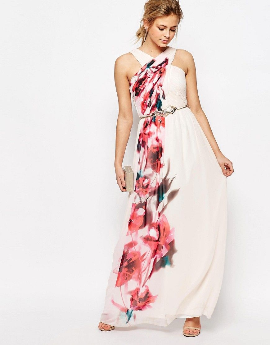 e36aee453f0f Little Mistress Cross Front Floral Placement Maxi Dress