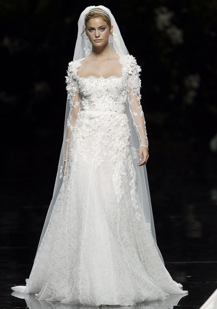 Elie By Elie Saab / Square Neck A-Line Wedding Dress, Gown - Hong ...