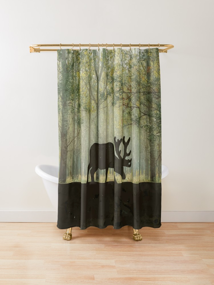 Moose In Forest Illustration Shower Curtain By Ironydesigns
