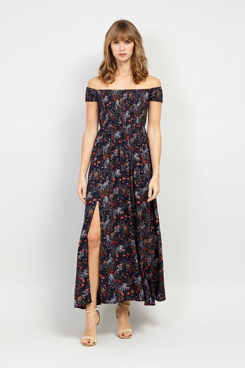 200559a9c4bf Floral Bardot Maxi Dress in 2019 | Clothes | Dresses, Floral maxi ...