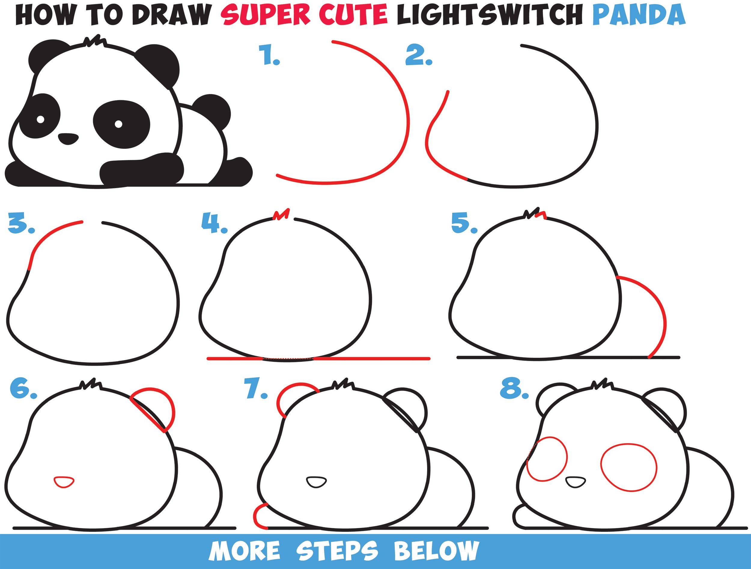 How to Draw a Super Cute Kawaii Panda Bear Laying Down Easy Step by ...