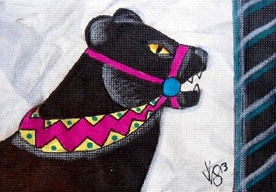 "Aceo Original ""CAROUSEL PANTHER"" pencil/ink on canvas paper ON EBAY"