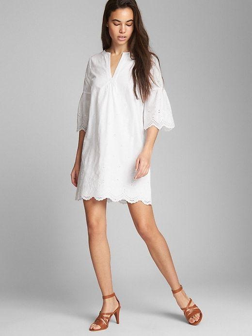 Gap Womens Short Sleeve Eyelet Shift Dress White Products