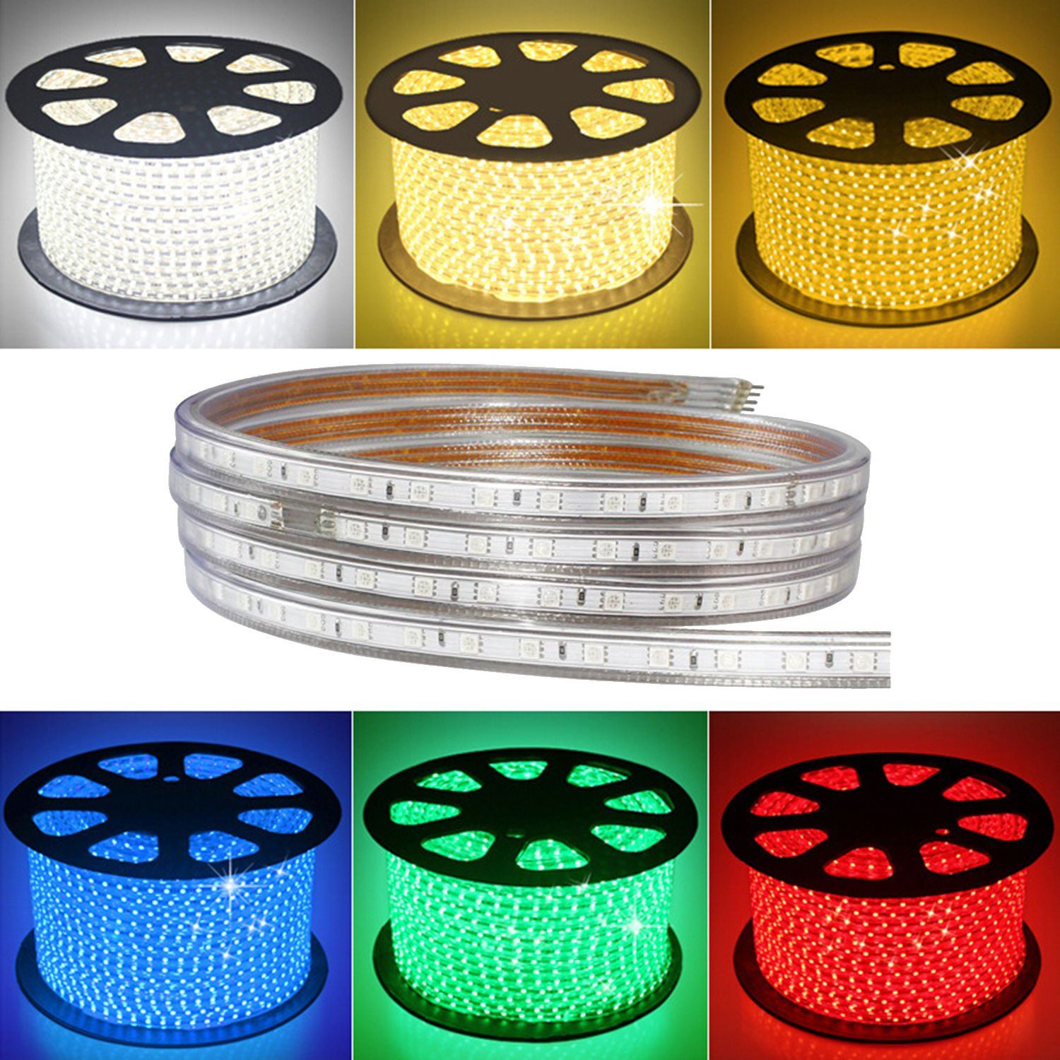 Iekovandtrade Ac 110120v Flexible Led Strip Lights 60 Leds M Dimmable Waterproof 5050 Smd Led Rope Light Remote Led Strip Lighting Led Rope Lights Led Strip