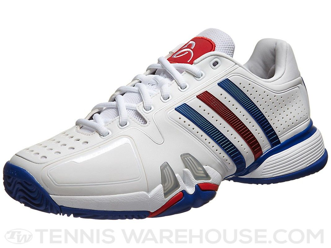 adidas Barricade 7 Novak White/Blue/Red Men's Shoe | Tennis Warehouse