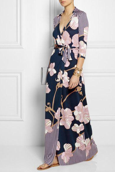 Diane von Furstenberg Robe longue portefeuille en jersey de soie imprimé  Abigail c1ce62cb88c