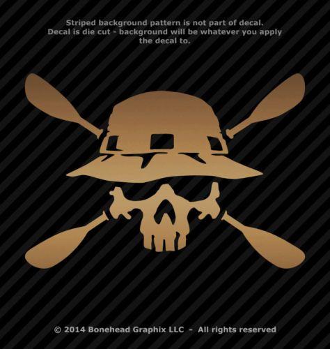 Photo of Kayak Skull with Paddles Vinyl Decal Canoe Oars Window Sticker – 25 Colors  | eBay