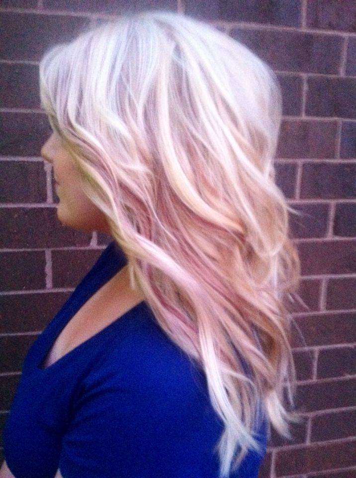 Color Platinum Blonde With Magenta Baby Lowlights Hair