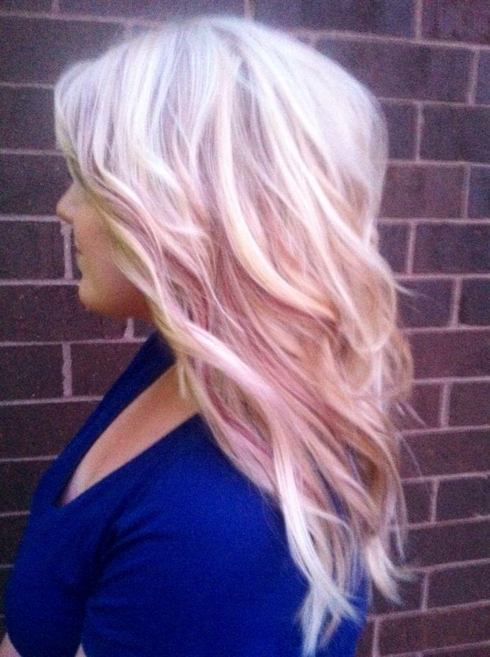 Color Platinum Blonde With Magenta Baby Lowlights Make