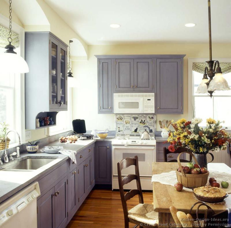 White appliances with gray-blue cabinets | White Appliances ...