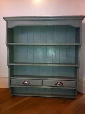 Lovely Large Plate Rack Wall Shelf 2 drawers Annie Sloan paint Duck Egg Blue & Lovely Large Plate Rack Wall Shelf 2 drawers Annie Sloan paint ...