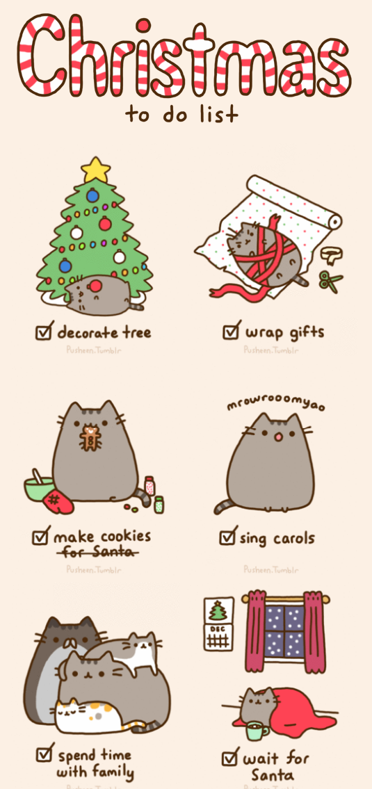 Pusheen Christmas.Christmas To Do List Pictures Photos And Images Holidays