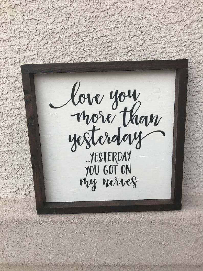 Valentines Day Love Sign I Love You More Than Yesterday You   Etsy