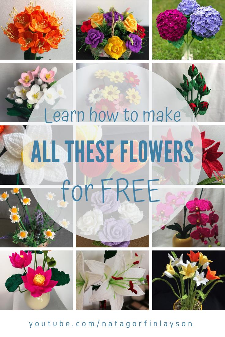 Free Crochet Flower Patterns #crochetflowerpatterns