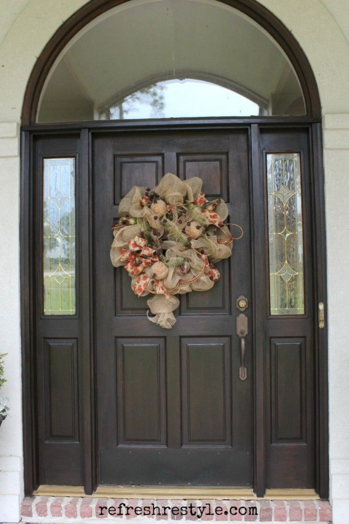 How to Stain Your Front Door with easy to use Gel Stain. Great for curb appeal spruce up easy and fast front door makeover - RefreshRestyle.com & How to Stain Your Front Door | Front doors Doors and Door makeover
