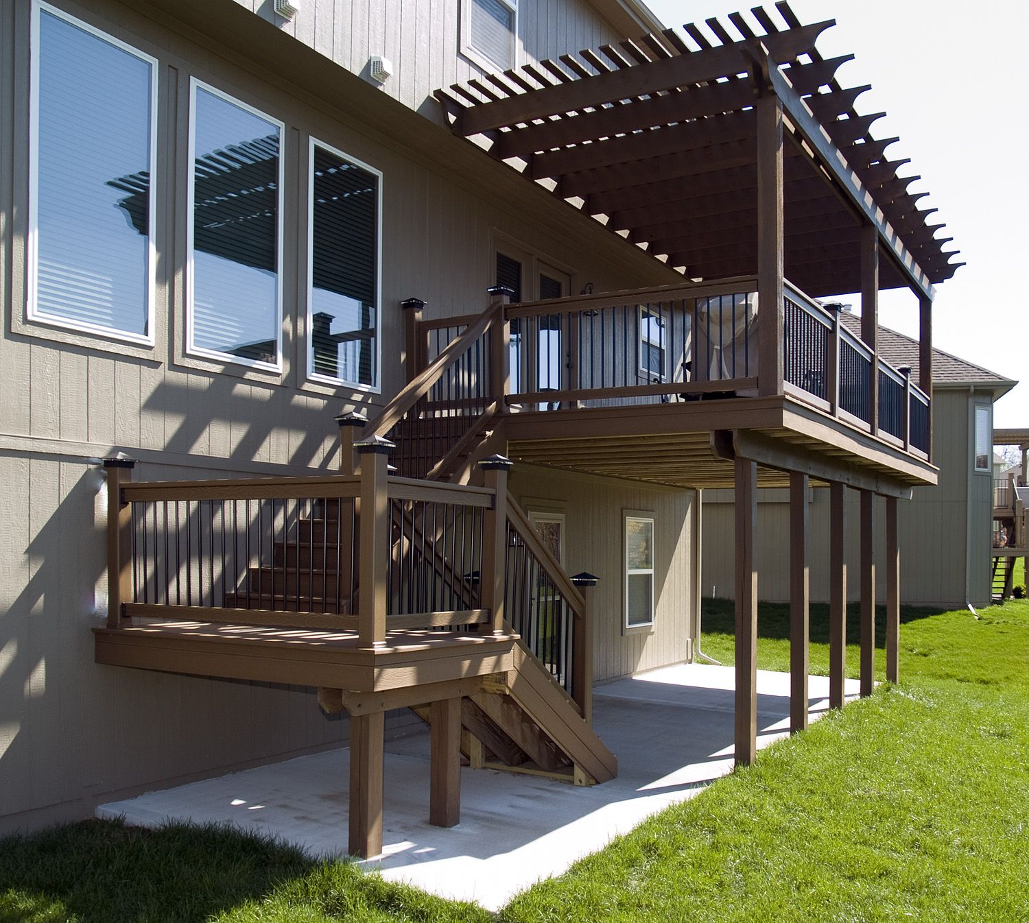Patio And Deck Builders Utah: Covered Patio With A Pergola Over The Deck Above