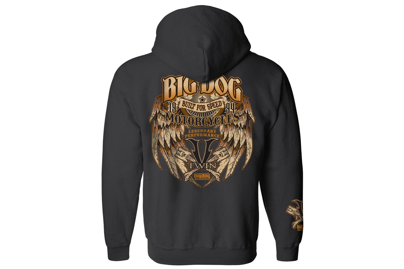 hight resolution of big dog motorcycles built for speed full zip hoodie black 54 95 58 95