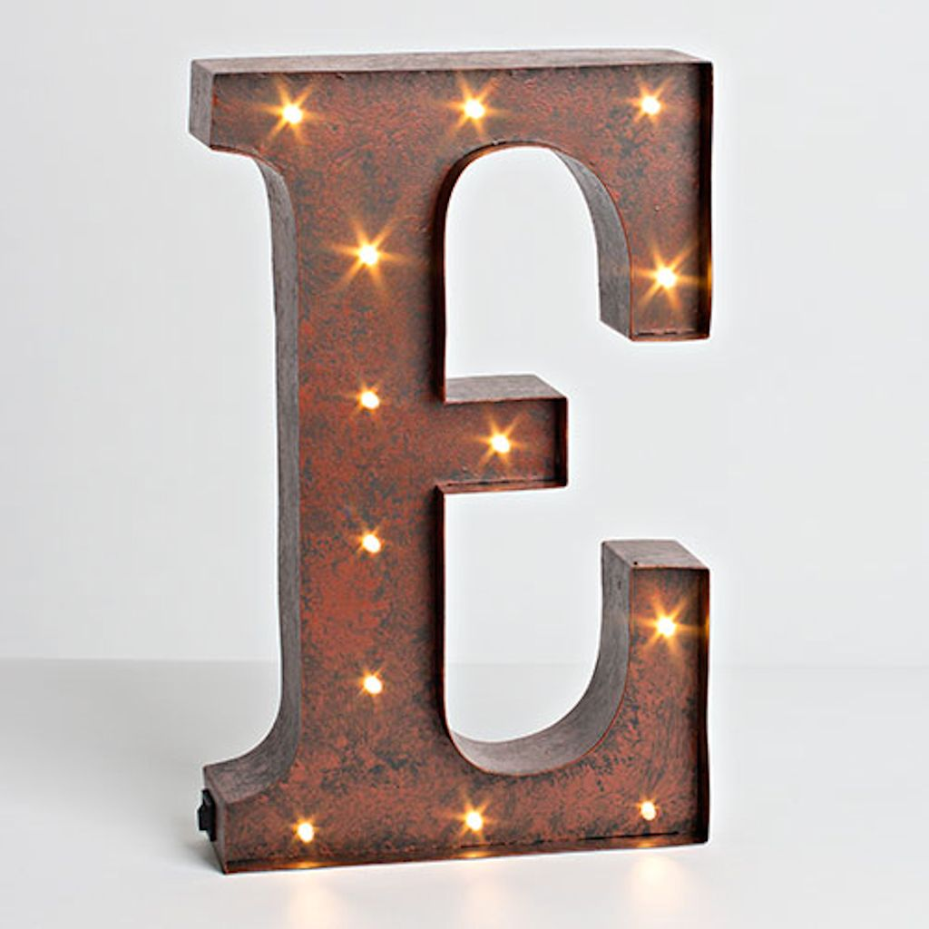 "Lighted Metal Initials 12"" Rustic Brown Metal Battery Operated Led Lighted Letter ""e"