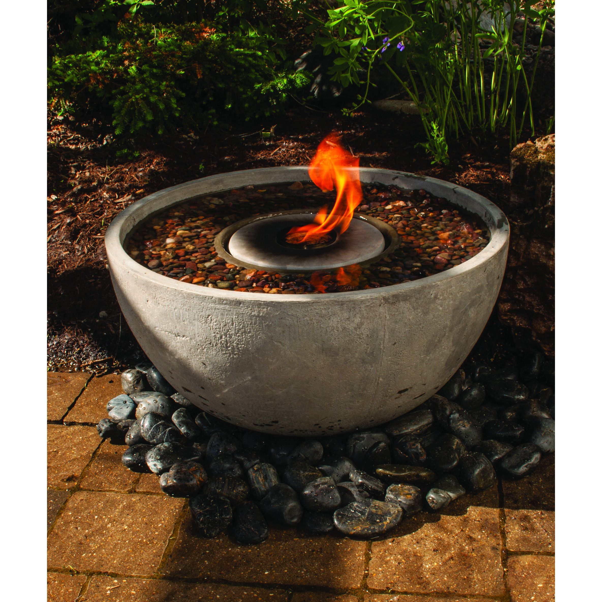 this self contained water and fire feature is sure to be the focal