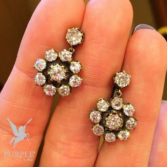 Grab this sparkling antique diamond cluster earrings by @betteridge1897 via @jewelsdujour #purplebyanki #love #instagood #beautiful #diamond #finejewellry #highjewellry #diamondclusterearrings