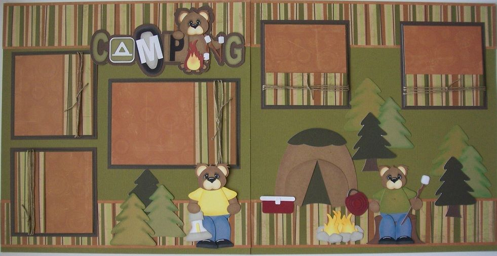 Two-Page Scrapbook Layouts   BLJ Graves Studio: Camping Scrapbook Page