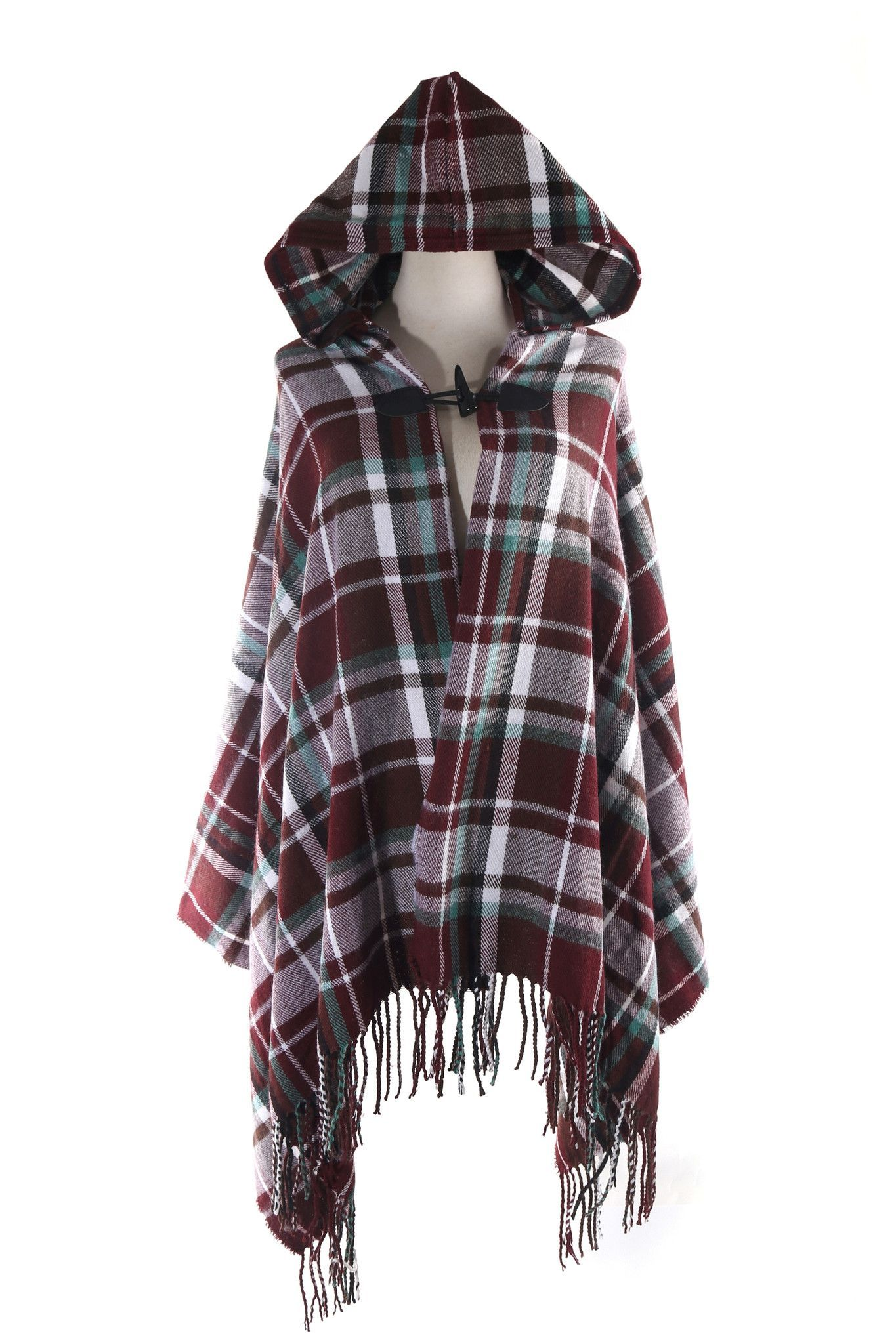 Red and black flannel cardigan  Tartan Plaid Soft Hooded Cardigan  ponchos  Pinterest  Hooded