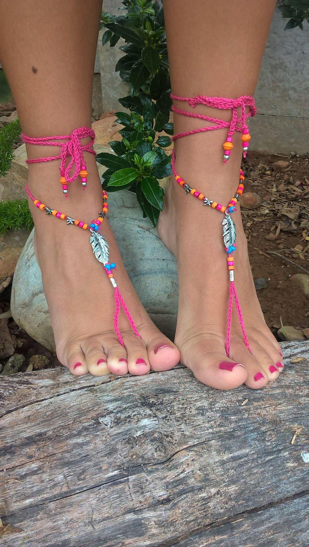 dd6173e411a29 Hot Pink BAREFOOT SANDALS - Bohemian Barefoot Sandals - Barefoot ...