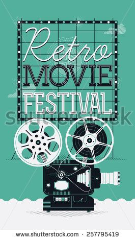 Cool Vector Detailed Poster On Retro Movie Festival Event With Cinema Motion Picture Film Projector Different Reels And Lettering Signboard