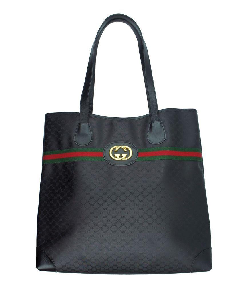 Vintage GUCCI Black Monogram Iconic Stripe Shopper Tote Handbag Bag - RARE HTF #Gucci #TotesShoppers