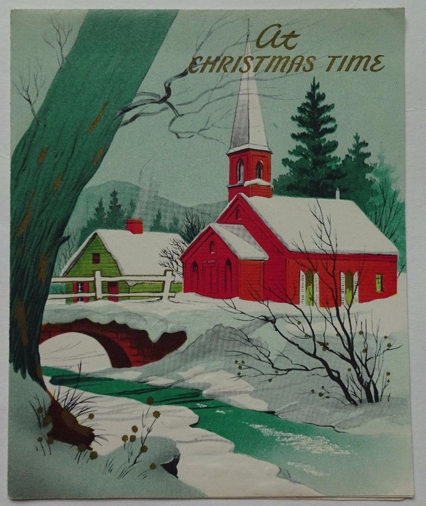 1940s 60s church snow stream tree vintage christmas wishes 1940s 60s church snow stream tree vintage christmas wishes greeting kristyandbryce Image collections