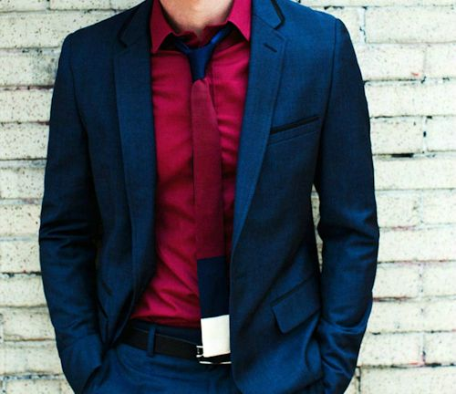 Flat Tie, Red Shirt, Dark Blue Suit. Straight Sexy | MAN O ...