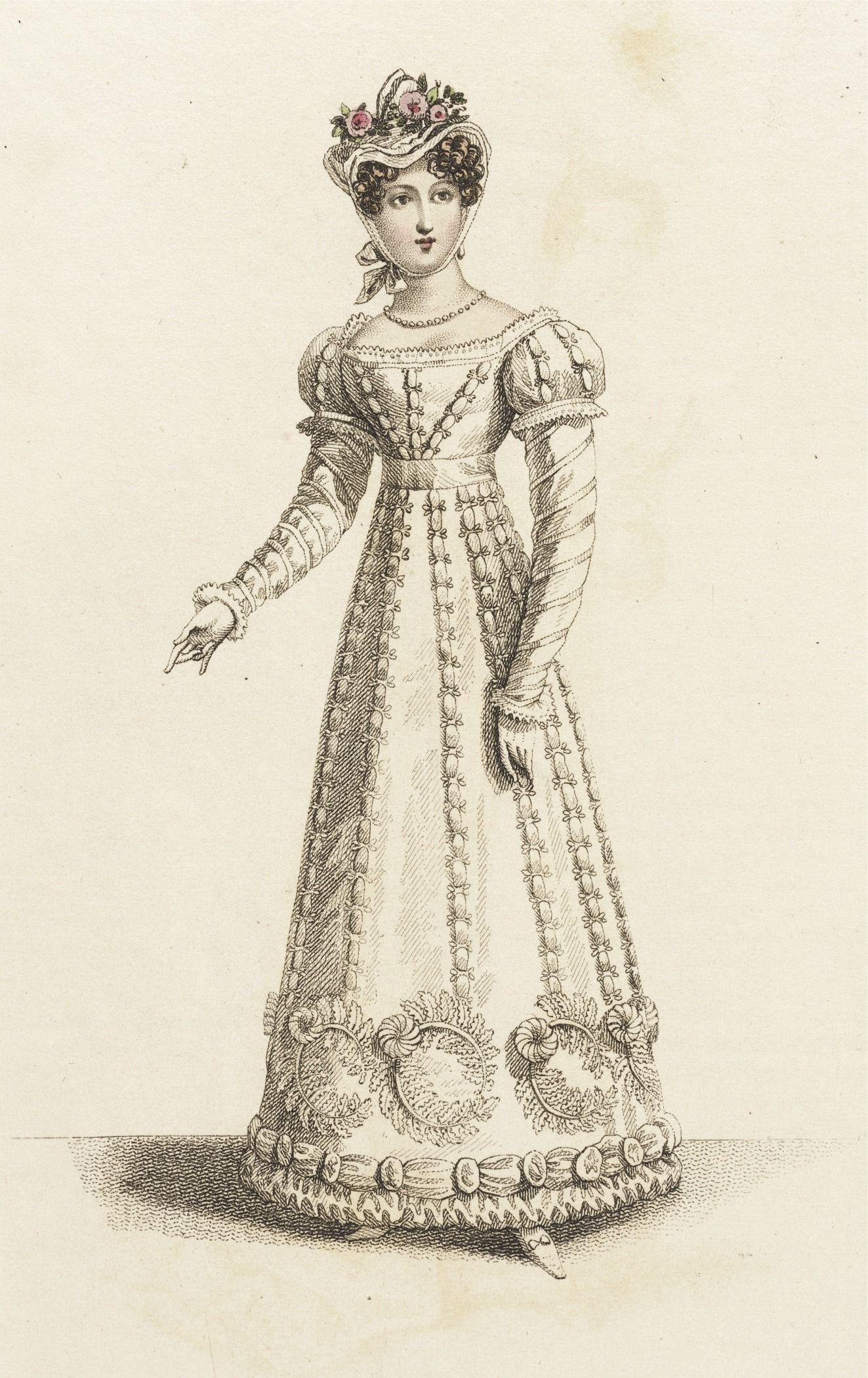 June 1821 Fashion Plates Dinner Party Dress Fashion Illustration Vintage [ 2100 x 1323 Pixel ]