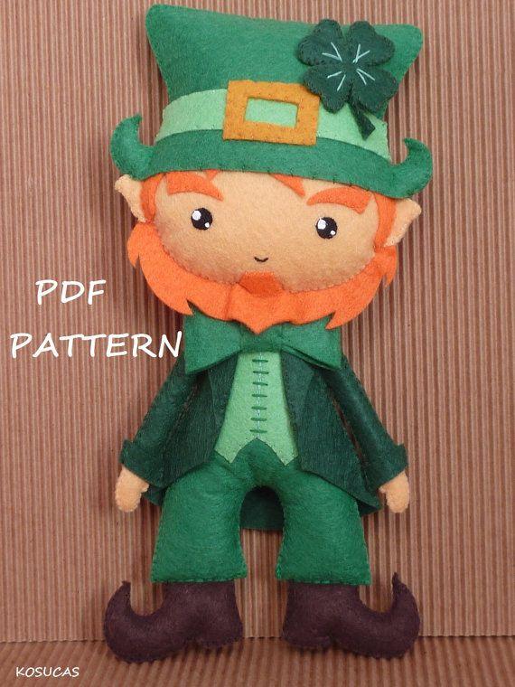 PDF sewing pattern to make a felt leprechaun | historias | Pinterest ...