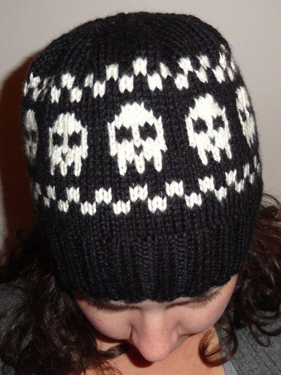 How To Knitting Pattern Skeleton Skull Crossbones Cap Hat Heavy