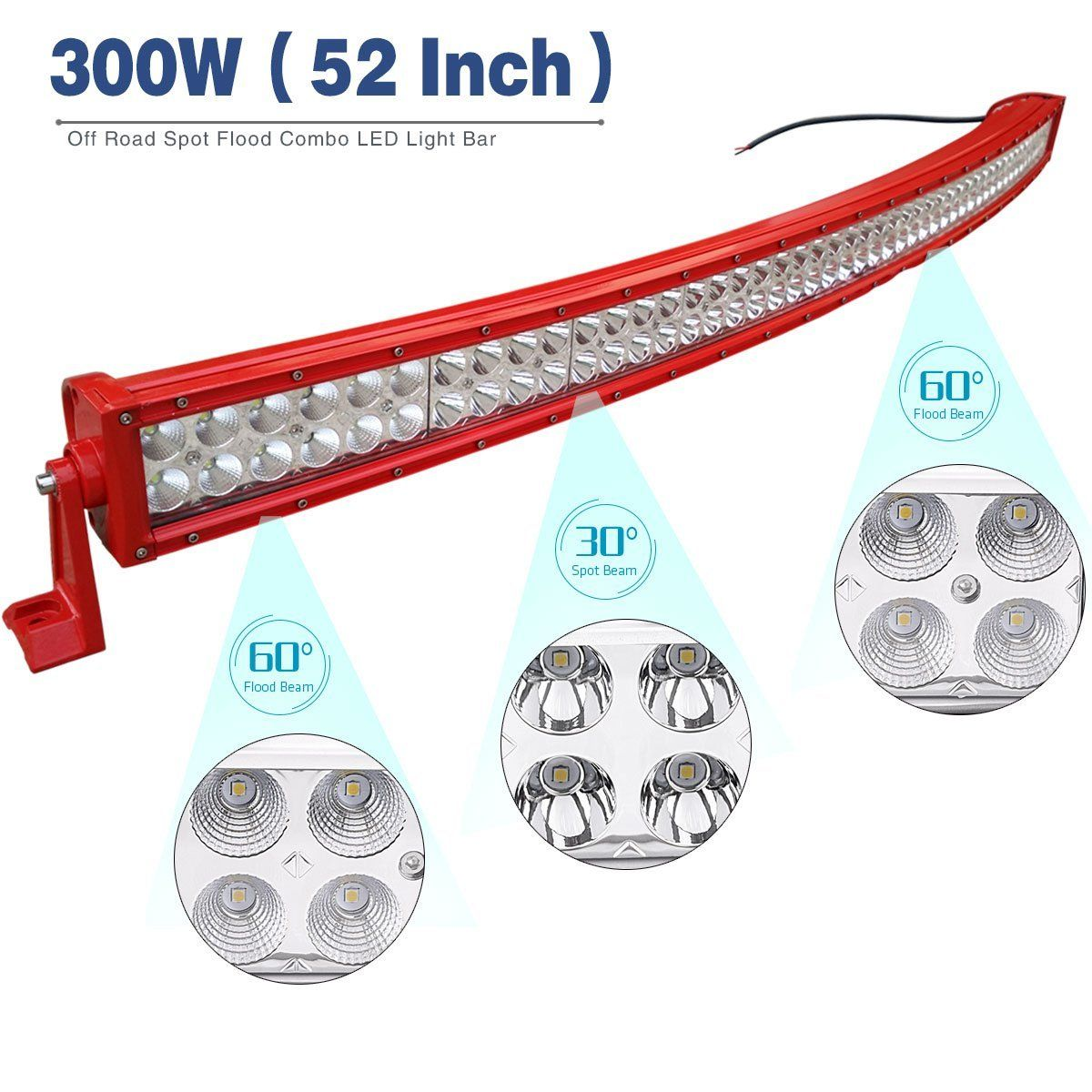 Yitamotor 52 Inch Curved Red Led Light Bar Offroad Lights With 107 Atv Wiring Harness For Truck