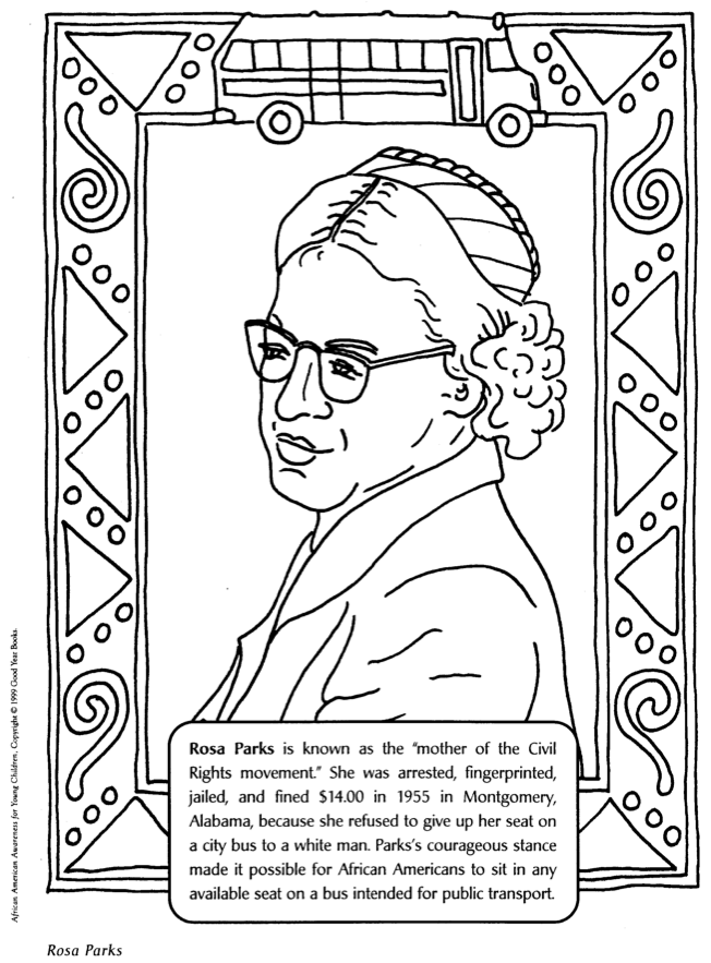 Rosa parks - mother of civil rights movement coloring page | Happy ...