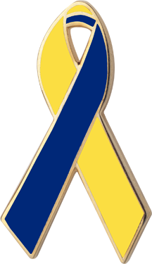 Yellow And Blue Awareness Ribbons Lapel Pins Personalized Cause Awareness Ribbons Down Syndrome Down Syndrome Ribbon