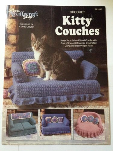 Kitty Couches Crochet Pattern Booklet Cat Bed Sofa Pillows Mini