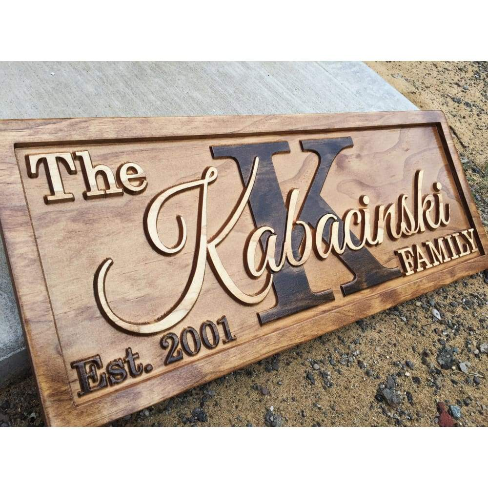 Last Name Sign Personalized Wood Signs Wooden Carved Signs Custom Carved Wooden Signs