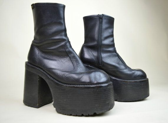 90s Rare Grunge Goth Clubkid Black Leather Classic by