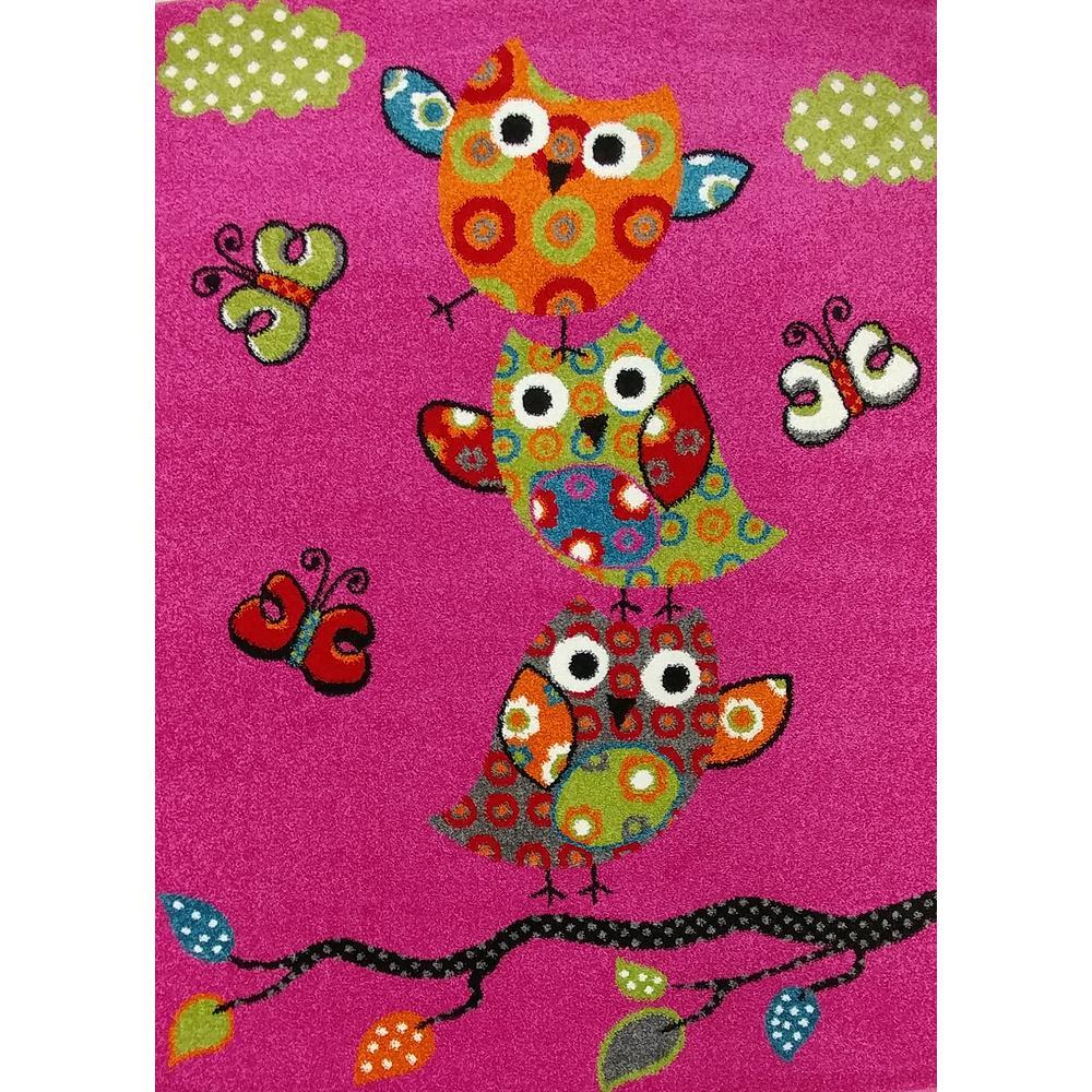 KC CUBS Multi-Color Kids Habitación para niños y adolescentes Sala de juegos Pink Owl and Butterfly Design Alfombra de área de 5 pies x 7 pies-KCP010007-5×7 – The Home Depot
