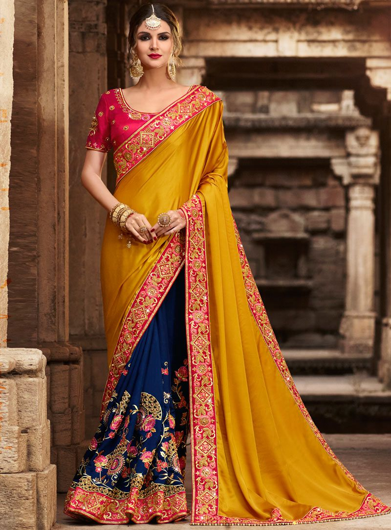 Buy mustard silk half n half saree with blouse online at