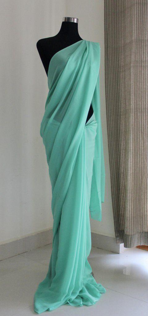 93d57d63ab Pure silk georgette plain saree | akrithi | Plain saree, Plain ...
