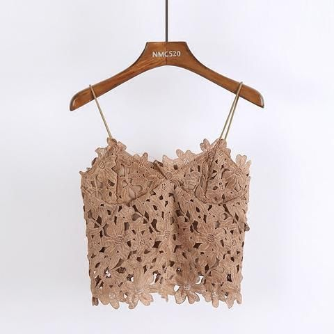 2018 Summer New Girls Fashion Lace Simple Camis Female Cute Vacation Beach  Style Top Women All 436a9fd6bde2