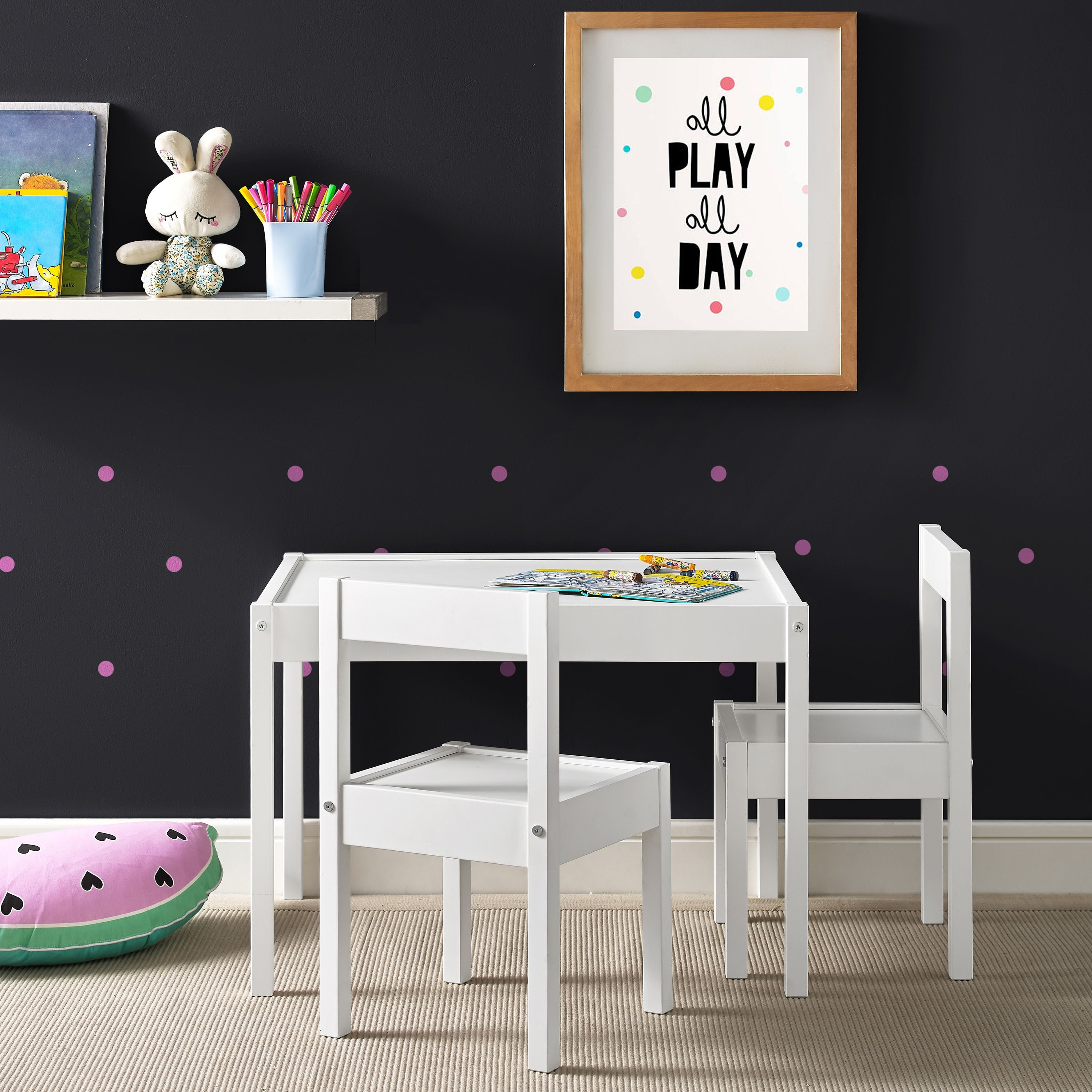 Magnificent Avenue Greene Dreama White 3 Pc Kiddy Table Chair Set Alphanode Cool Chair Designs And Ideas Alphanodeonline