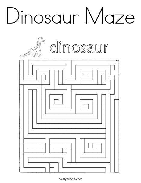 Dinosaur Maze Coloring Page - Twisty Noodle | Dinosaur ...